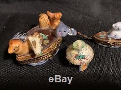 NOAH'S ARK with Polar Bear in Life Boat Limoges Trinket Box Peint Main La Reine