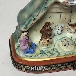 Nativity Scene Hand Painted Vintage Limoges With Star Clasp
