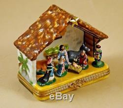 New French Limoges Trinket Box Christmas Nativity Scene W Baby Jesus 8 Figurines