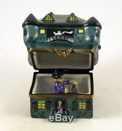 New French Limoges Trinket Box Haunted Halloween Mansion With Witch And Ghosts
