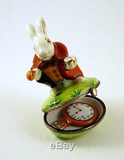 New French Limoges Trinket Box Rabbit Alice In Wonderland With Removable Clock
