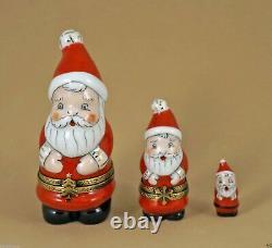 New French Limoges Trinket Box Santa 3 Pc Set Nesting 2 Santa Boxes 1 Figurine