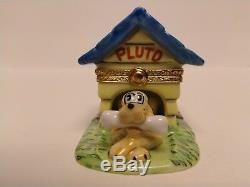New Rare Retired Disney Artoria Pluto in Dog House Limoges Trinket Box