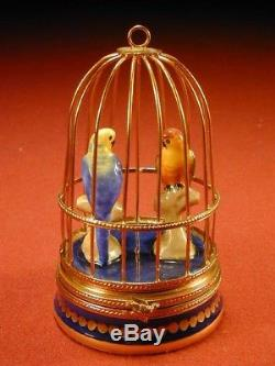 Old Fait Main Limoges France Two Parrot Love Bird on Roost In Cage Porcelain Box