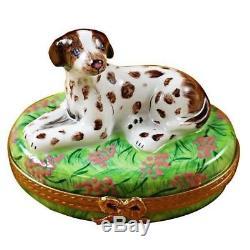 POINTER DOG NEW Limoges Boxes Porcelain Trinket Snuff Box France