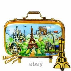 Paris Landmarks Suitcase with Eiffel Tower Limoges Box by Beauchamp NIB