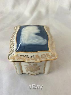 Pate Sur Pate Trinket Box, Art Nouveau Woman figure, Signed Limoges France
