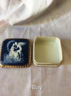 Pate Sur Pate Trinket Box, Women And Angel, Signed Limoges