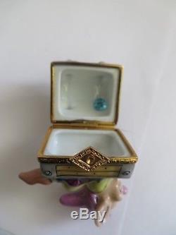 Peint Main Artoria Dopey Mine Cart Trinket Box Limoges France Disney