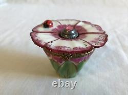 Peint Main Flower With Lady Bug Perfume Limoges Trinket Box