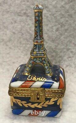 Peint Main LIMOGES France Rochard EIFFEL TOWER Hinged Trinket Box Paris