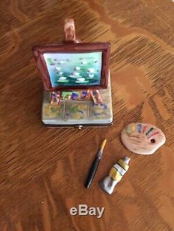 Peint Main LIMOGES France Trinket Box, Artist's Easel Excellent