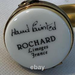 Peint Main Limoge France ROCHARD Hand Painted FRENCH HORN Trinket Box