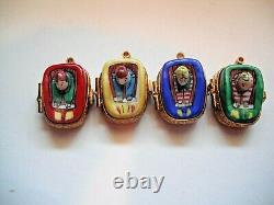 Peint Main Limoges Carnival Ride with Four Separate Cars Trinket Box