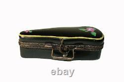 Peint Main Limoges Enamel Hinged Violin Case Trinket Box with removable Violin