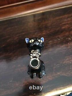 Peint Main Limoges France Black Cat Halloween Box