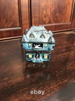 Peint Main Limoges France Haunted House Halloween Box