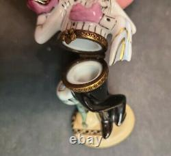 Peint Main Limoges France Pink Panther Trinket Box Rare Chanille