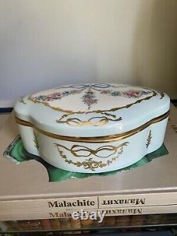 Peint Main Limoges France Ribbon Bow Pink Blue Gold Floral Porcelain Trinket Box