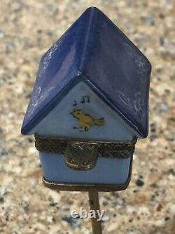 Peint Main Limoges France Trinket Box In The Form Of A Bird House
