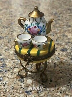 Peint Main Limoges France Trinket Box Tea Set On A Table