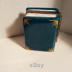 Peint Main Limoges Rochard Book Of Gardening Shears Watering Can Trinket Box