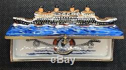 Peint Main Limoges Trinket Box-Titanic Cruising The Atlantic