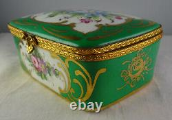 Peint Main Limoges Vintage HP Floral Gold & Green Rectangular Hinged Trinket Box
