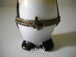 Peint Main Limoges box case trinket Rochard France Emperor Penguin