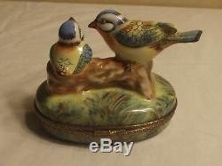 Peint Main Rochard Love Birds Kissing Limoge