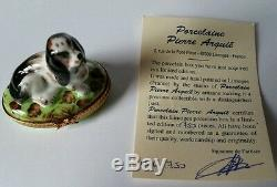 Pierre Arquie Limoges Hand Painted Basset Hound Dog Lying on Oval Trinket Box