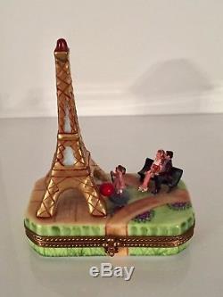 Porcelaine Peint Main Rose Art Limoges France Eiffel Tower Trinket Box
