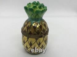RARE! Limoges France Gold Pineapple Trinket Box Chamart Exclusive Peint Main