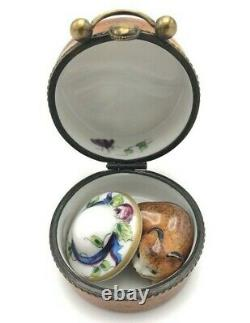 RARE Limoges Hat Box Cat / Kitten Inside Floral Hinged Trinket Peint Main France