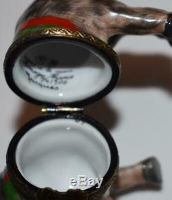 RARE Limoges Peint Main Porcelain Hinged Trinket Box REINDEER -Lim Ed 94/500
