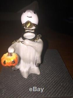 ROCHARD LIMOGES France Peint Main Ghost Trinket Box Halloween NOS Very Rare
