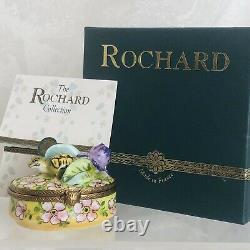 ROCHARD LIMOGES France Porcelain Trinket Box Turtle Under Lilly Pad Original Box