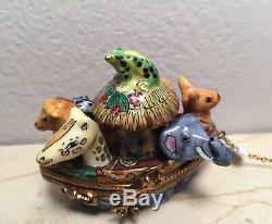 ROCHARD NOAH'S ARK with Polar Bear in Life Boat Limoges Trinket Box Peint Main