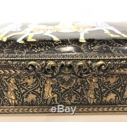 Rare! Antique Limoges France Copper Hand Painted Enamel Signed Trinket Box