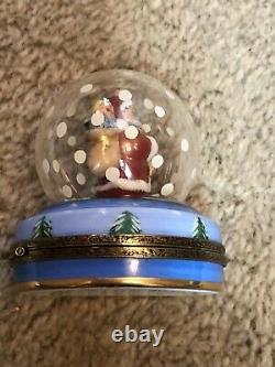 Rare Antique Vintage Limoges Christmas Trinket Box With Santa Under Snowglobe