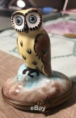 Rare Colors & Marked Peint Main Limoges Owl Trinket Box