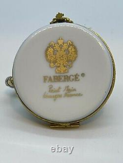 Rare Faberge Limoges France Peint Main porcelain Trinket Box Silver Swan