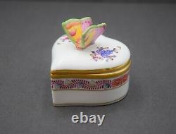 Rare! + Herend Hungary Porcelain Hand Painted Heart Trinket Box With Butterfly +