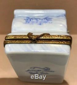 Rare Initialed Limoges France Bed With Charm Trinket Box