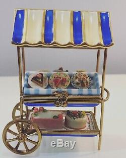 Rare Large Limoges RM Trinket Box Covered Pastry Cart Pies Cakes Tarts CHARMING