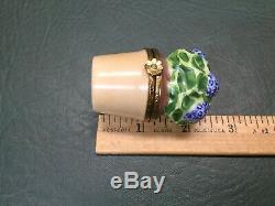 Rare Limoges Artoria Blue Hydrangea in Pot Hinged Trinket Pill Box
