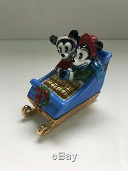Rare Limoges Artoria Mickey Mouse & Minnie Mouse Sleigh Ride Trinket Box Disney
