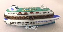 Rare Limoges France Limited Edition Peint Main Cruise Ship Trinket Box
