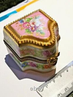 Rare Limoges France Marque Deposee Jeweled Perfume Bottle Trinket Box