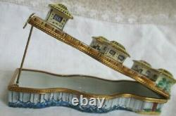 Rare Limoges France Peint Main Beach Pier Large Porcelain Trinket Box New